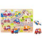 Tooky Toy: Fa forma puzzle, járművek - 9 darabos