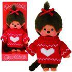 Monchhichi: Lány baba piros pulóverben