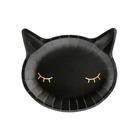 Fekete macskafej alakú papírtányér, 6 db - 22 x 20 cm