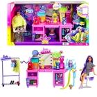 Barbie: Set de joacă cu măsuță de toaletă și păpușă cu păr mov