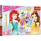 Trefl: Disney hercegnők csillámos puzzle - 100 darabos