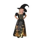 Costum Vrăjitoare negru-auriu cu pălărie - mărime 92-104