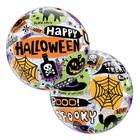 Balon folie cu inscripție Happy Halloween și model pânză de păianjen și dovleac - 56 cm