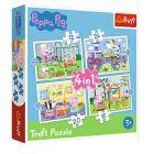 Trefl: Amintirile de vacanță a lui Peppa Pig - puzzle 4-în-1 de 12, 15, 20 și 24 de piese