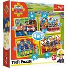 Trefl: Pompierul Sam - puzzle 4-în-1 de 12, 15, 20 și 24 de piese
