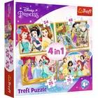 Trefl: Disney hercegnők boldog napja 4 az 1-ben puzzle - 35, 48, 54, 70 darabos