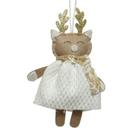 Karácsonyi dekoráció akasztóval, fehér-arany - 16 cm, cica