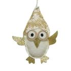 Karácsonyi dekoráció akasztóval, fehér-arany - 16 cm, bagoly