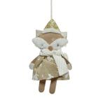 Karácsonyi dekoráció akasztóval, fehér-arany - 16 cm, róka