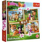 Trefl: Masha în pădure - puzzle 4-în-1 de 35, 48, 54, 70 de piese
