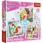Trefl: Prințesele Disney - puzzle 3-în-1 cu 20, 36 și 50 de piese