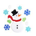 Hóember és hópelyhek zselés ablakdísz szett