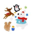 Karácsonyi állatok zselés ablakdísz szett