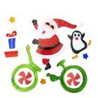 Bicikliző Mikulás pingvinnel zselés ablakdísz szett
