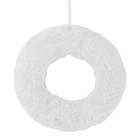Hungarocell félkoszorú plüss borítással, 20 cm - fehér