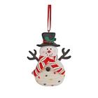 Figurină om de zăpadă de crăciun, cu agățător - ceramică, 8 cm