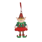 Figurină elf de crăciun, cu agățător - ceramică, 8 cm