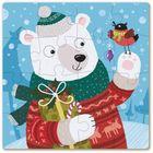 Dodo: Puzzle & Színező, karácsonyi maci - 16 darabos