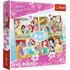 Trefl: Boldog Disney hercegnők egy napja 4 az 1-ben puzzle