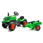 Falk: Pedálos X traktor kinyitható motorháztetővel és pótkocsival - zöld