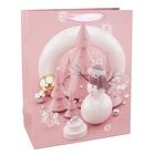 Karácsony témájú ajándéktasak, rózsaszín - 26 x 32 cm