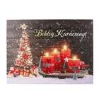 Karácsonyi hangulatkép, LED-es - karácsonyfa, adventi koszorúval