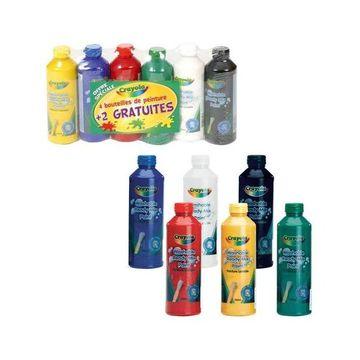 Crayola - 6 db lemosható, ecsetkész festék készlet, 250 ml-es