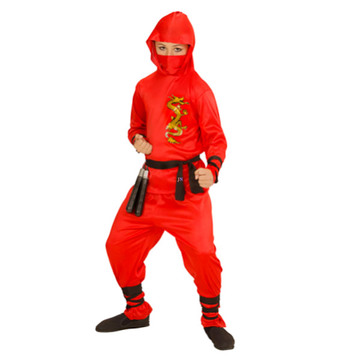 Sárkány ninja jelmez - 128 cm-es méret, piros
