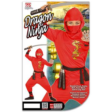 Sárkány ninja jelmez - 128 cm-es méret, piros - . kép