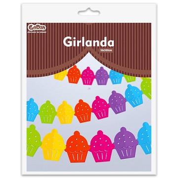 Muffinos girland - 3,6 m, színes - . kép
