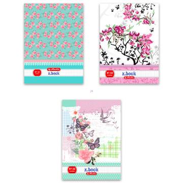 Herlitz: xbook négyzetrácsos füzet - A4-es, rózsás, 87-32