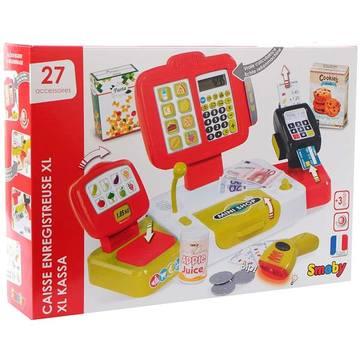 Smoby: Elektronikus pénztárgép szett, piros - 27 db-os - . kép