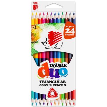 ICO kétvégű, 12 darabos, háromszögű színes ceruza