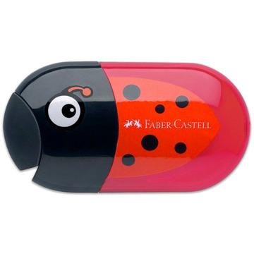 Faber-Castell: ascuţitoare dublă cu rezervor şi radieră cu model buburuză