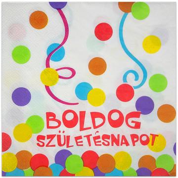 Boldog születésnapot feliratos 20 darabos szalvéta - konfetti mintás