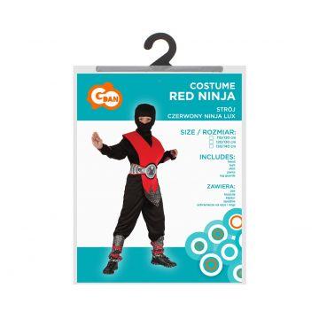 Ninja jelmez - 130-140 cm, piros-fekete - . kép