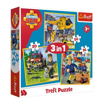 Trefl: Sam, a tűzoltó 3 az 1-ben puzzle