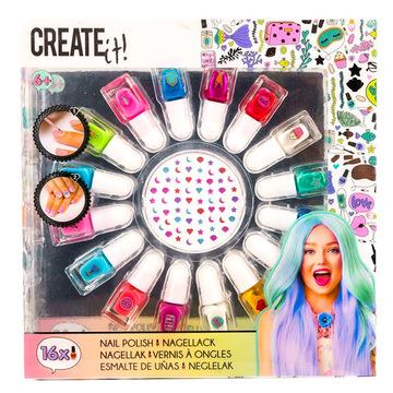 Create it! Körömlakk szett - 16 színnel, matricákkal