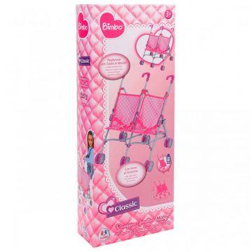Bimbo: rózsaszín ikerbabakocsi - 48cm - . kép