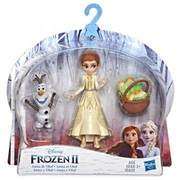 Disney hercegnők: Jégvarázs 2 mini Olaf és Anna baba - 10 cm