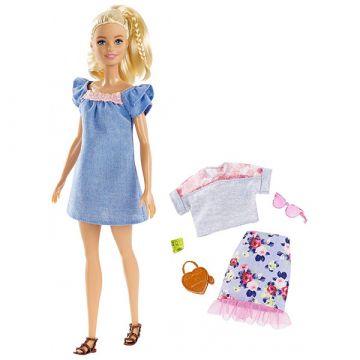 Barbie Fashionistas: păpuşă Barbie blond în rochie albastră și accesorii