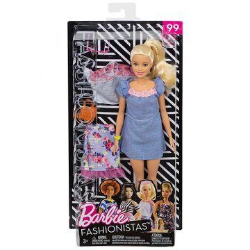 Barbie Fashionistas: păpuşă Barbie blond în rochie albastră și accesorii - .foto