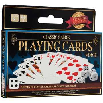 Klasszikus kártyajáték - 2 pakli kártyával és 5 darab dobókockával