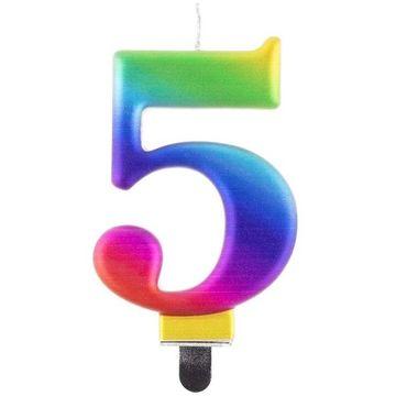 Szivárvány színű születésnapi gyertya, 8 cm - 5 - . kép
