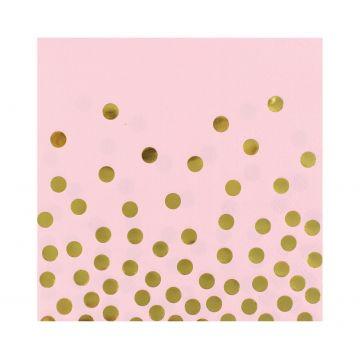 Arany pöttyös, rózsaszín szalvéta, 33 x 33 cm, 12 db-os