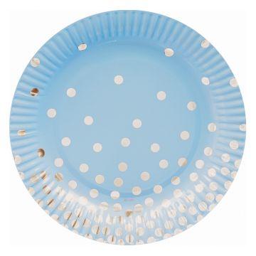 Ezüst pöttyös, kék papír tányér 18 cm, 6 db-os