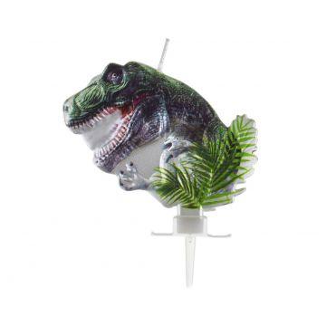 Metál fényű T-Rex gyertya