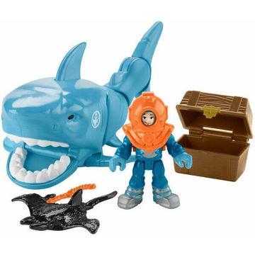 Imaginext: Elsüllyedt kincses láda,cápa és búvár figura szett - . kép