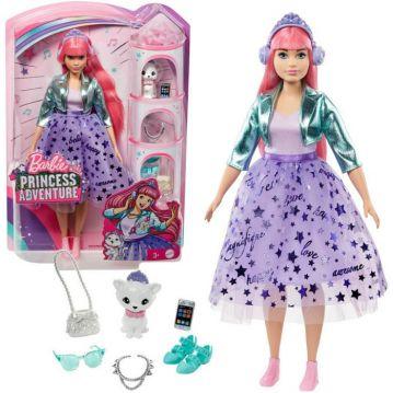 Barbie: Princess Adventure - Rózsaszín hajú baba kiscicával