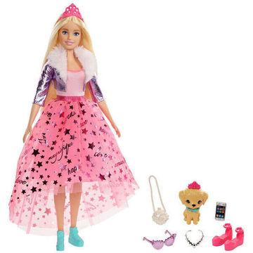 Barbie: Princess Adventure - Szőke hajú baba kiskutyával